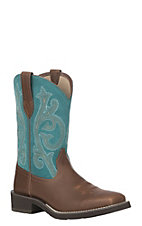 Ariat Women's Brown Leather Prim Rose Square Toe Crepe Sole Western Boot