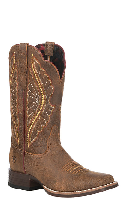 6b8e73fb7a2 Ariat Women's Vintage Bomber Leather Primetime Wide Square Toe Western Boot