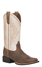 Ariat Women's Brown Leather Round Up Rio Wide Square Toe Western Boot