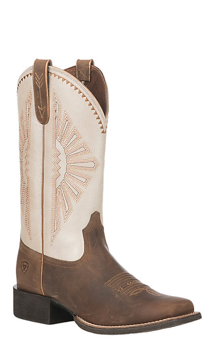 8265724d309 Ariat Women's Brown Leather Round Up Rio Wide Square Toe Western Boot