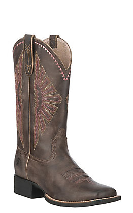 Ariat Women's Distressed Brown Round Up Rio Wide Square Toe Western