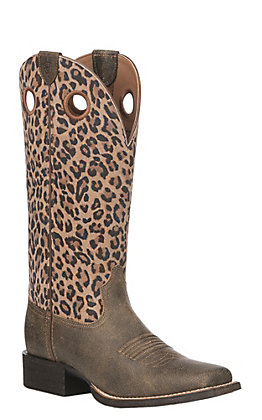 Ariat Women's Tan Leather Round Up Ryder Wide Square Toe Western Boot