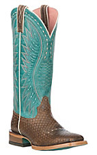 Ariat Women's Vaquera Diamondback Tan with Turquoise Wide Square Western Boot