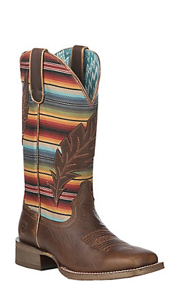 Ariat Women's Circuit Feather Autumn Tan with Serape Print Wide Square Western Boot