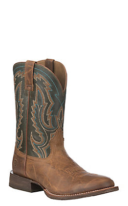 Ariat Men's Circuit Competitor Weathered Tan and Rifle Green Round Toe Western Boot