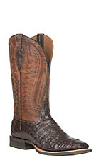 Ariat Men's Exotic Antique Pecan and Chestnut Caiman Double Down Wide Square Toe Western Boot