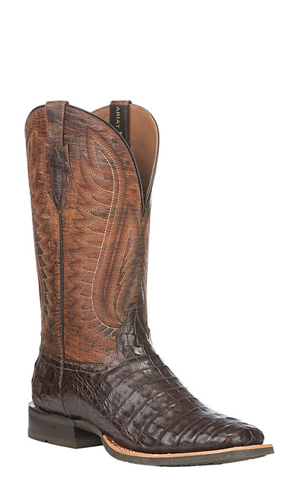 66aa4a072ac Ariat Double Down Men's Antique Pecan Caiman and Chestnut Wide Square Toe  Exotic Western Boots
