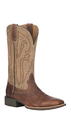 Ariat Men's Cognac Bullhide Leather Heritage Latigo Wide Square Toe Western Boot