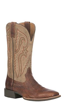 Ariat Men's Cognac Bullhide Leather Heritage Latigo Wide Square Toe Western Boot