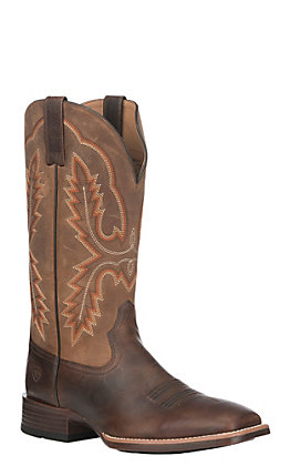 Ariat Men's Brown and Distressed Tan Leather Pecos Wide Square Toe Western Boot