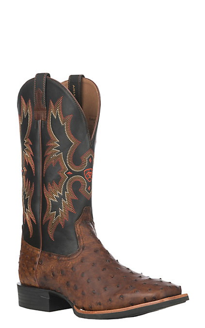 4baa429cc78 Ariat Quantum Classic Men's Matte Brown and Black Full Quill Ostrich Wide  Square Toe Exotic Western Boots