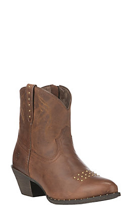 Ariat Dakota Women's Sassy Brown Leather Round Toe Fashion Booties