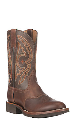 Ariat Men's Quantum Vintage Caramel and Chocolate Crepe Sole Round Toe Western Boots