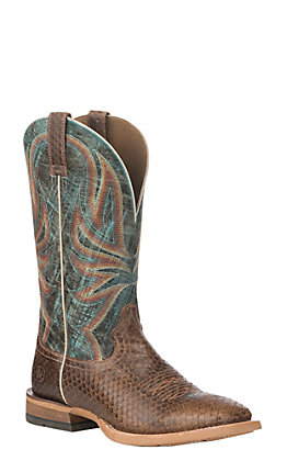 Ariat Men's Range Boss Tan and Blue Wide Square Toe Western Boot