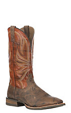 Ariat Men's Range Boss Trusty Brown with Apricot Wide Square Toe Western Boot
