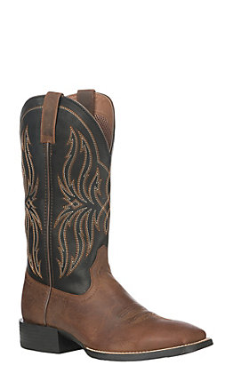 Ariat Men's Brown Leather Sport Rustler Wide Square Toe Western Boot
