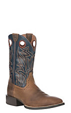Ariat Men's Sport Sidebet Distressed Brown with Solid Blue Wide Square Western Boot