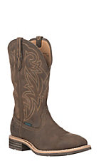 Ariat Men's Oily Distressed Brown Tombstone H2O Wide Square Western Boot