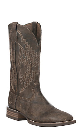 Ariat Men's Tycoon Antiqued Grey Wide Square Toe Western Boot