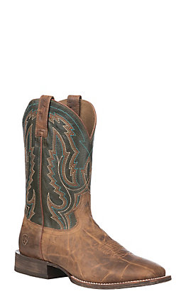 Ariat Men's Circuit Slingshot Tobacco Toffee with Rifle Green Wide Square Western Boot