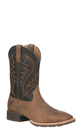 Ariat Hybrid Rancher Men's Earth and Black Wide Square Toe Western Boots