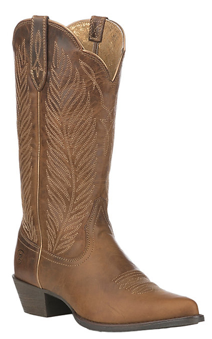 Ariat Women's Round Up Johanna Pearl Tan Pointed Toe Western Boot by Ariat