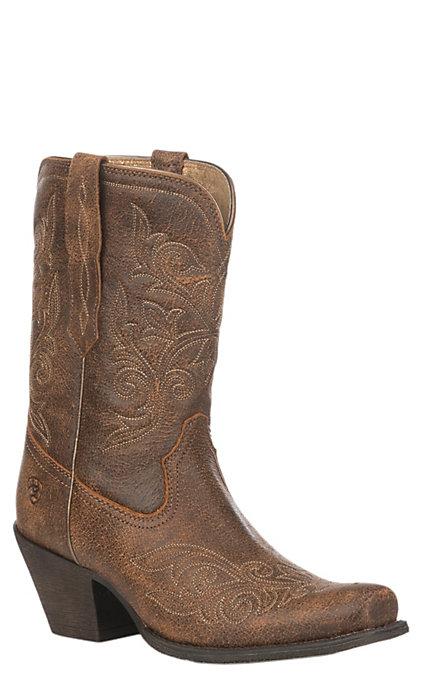 63159643909 Ariat Women's Vintage Bomber Leather Round Up Rylan Short Western Boot