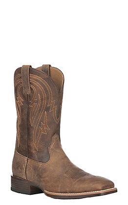 Ariat Men's Plano Dusty Tan and Brown Bantam Weight Wide Square Toe Western Boots