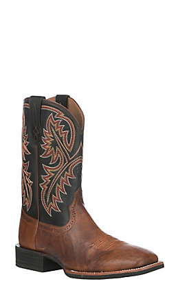 Ariat Men's Quickdraw Brown Smooth Full Quill Ostrich and Black Wide Square Toe Western Boot