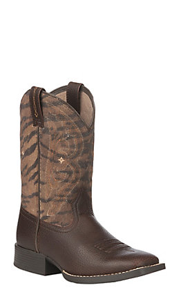 Ariat Kids Pebbled Brown and Tiger Print Wide Square Toe Boots