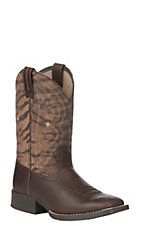 Ariat Youth Pebbled Brown and Tiger Print Wide Square Toe Boots