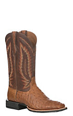 Ariat Men's Tan Relentless Platinum Full Quill Ostrich Wide Square Toe Western Boot