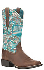 Ariat Women's Turquoise Camo Patriot Round Up Wide Square Toe Western Boot