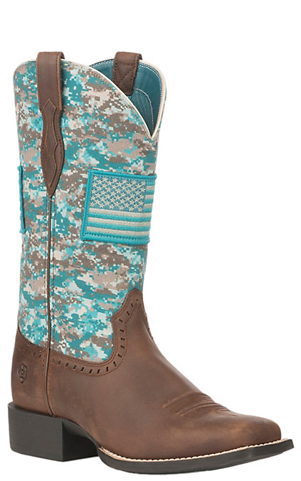 31eaf592918 Ariat Women's Turquoise Camo Patriot Round Up Wide Square Toe Western Boot