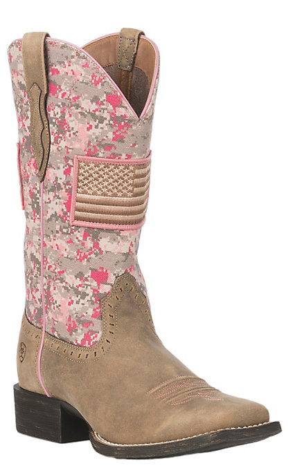 f7cecf941f3 Ariat Women's Pink Camo Patriot Round Up Wide Square Toe Western Boots