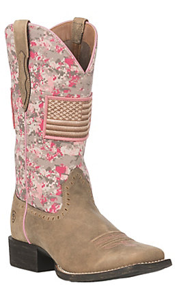 Ariat Women's Pink Camo Patriot Round Up Wide Square Toe Western Boot