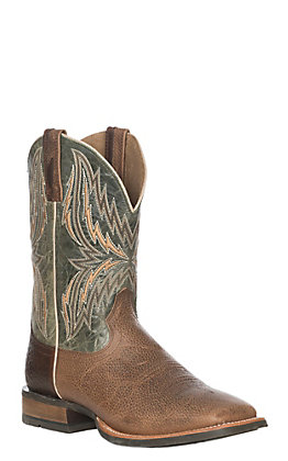 Ariat Men's Arena Rebound Toffee and Green Western Boot