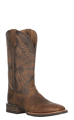 Ariat Tycoon Men's Sorrel and Honey Brown Wide Square Toe Western Boots
