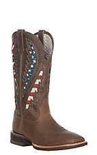 Ariat Men's VentTek Distressed Brown & American Flag Western Wide Square Toe