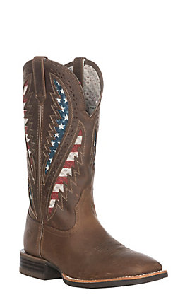 Ariat Men's Quickdraw VentTEK Distressed Brown with American Flag Wide Square Toe Western Boot