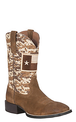 Ariat Sport Patriot Men's Mocha & Sand Camo Texas Flag Patch Wide Square Toe Western Boots