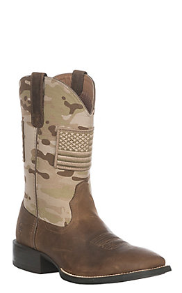 Ariat Sport Patriot Men's Brooklyn Brown & Sage Camo American Flag Patch Wide Square Toe Western Boots