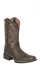 Ariat Men's Sport Herdsman Brooklyn Brown Western Square Toe Boots