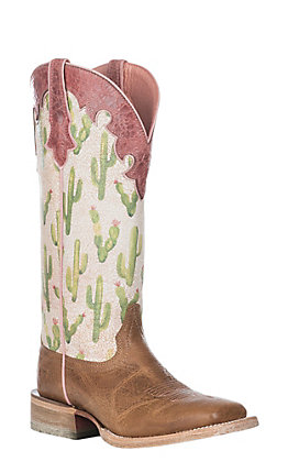 Ariat Women's Fonda Cactus Print Western Wide Square Toe Boot