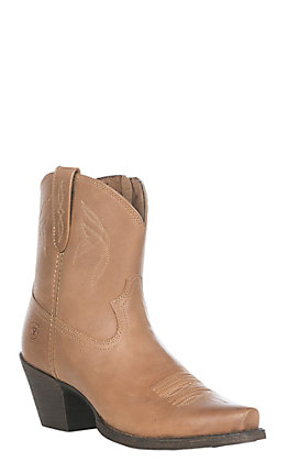 Ariat Lovely Women's Luggage Brown Leather Western Snip Toe Booties