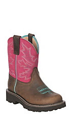 Ariat Fatbaby Ladies Distressed Brown and Rose Round Toe Boots