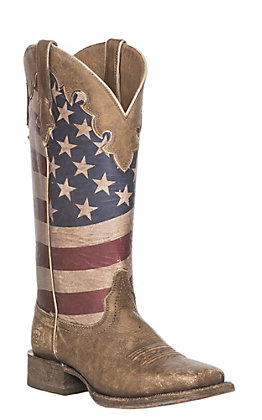 Ariat Ranchero Women's Stars And Stripes Flag Square Toe Boots
