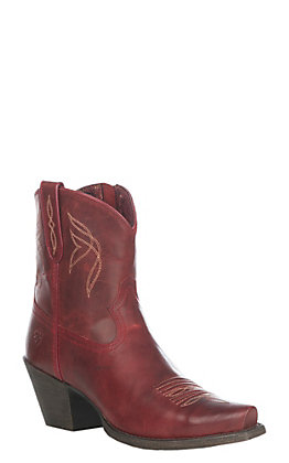 Ariat Women's Grenadine Red Lovely Western Snip Toe Bootie