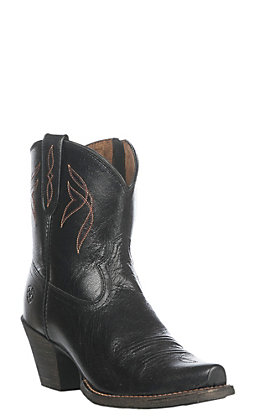 Ariat Lovely Women's Black Blue Grass Leather Western Snip Toe Booties