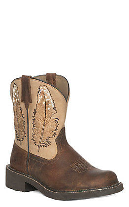 Ariat Women's Brown & Gold Round Toe Fat Baby Boot